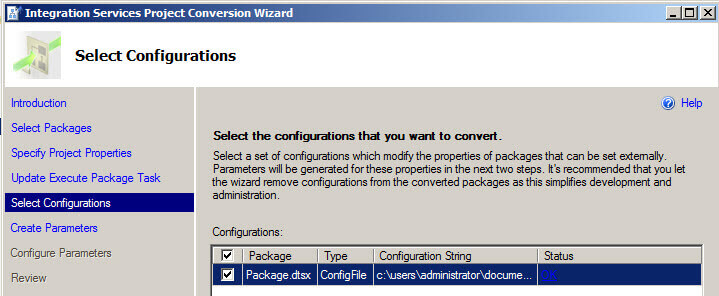 Select configurations in the Integration Services Project Conversion Wizard