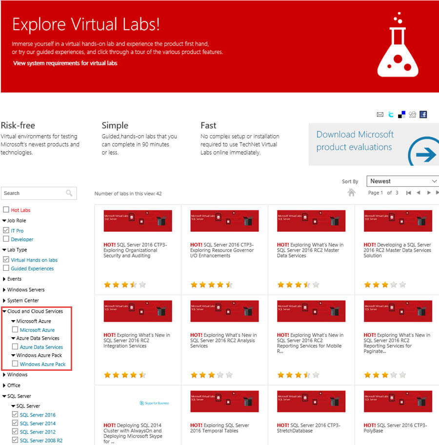 Explore Virtual Labs Main Screen