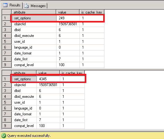 SQL Server attribute set_options is different for the two plans