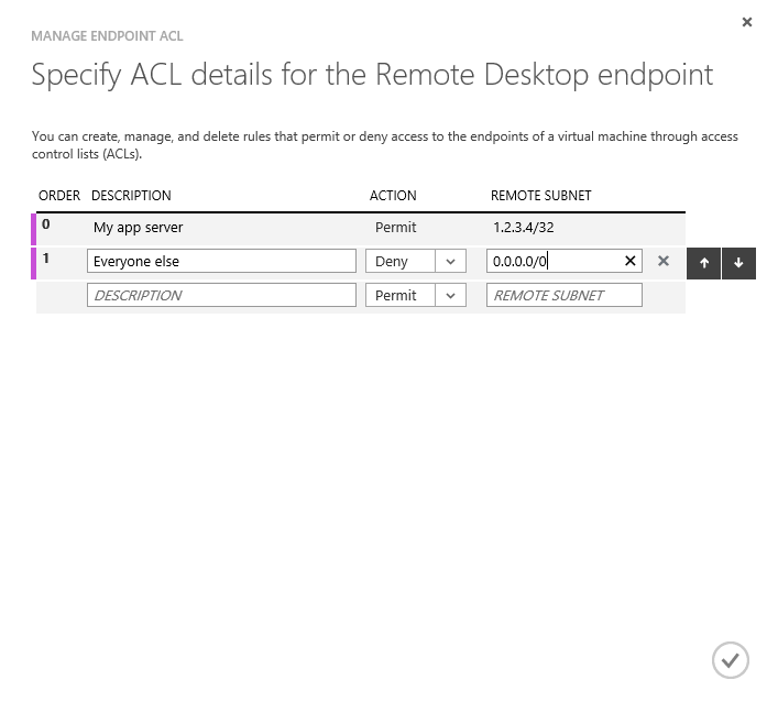 Specify ACL details for the Remote Desktop