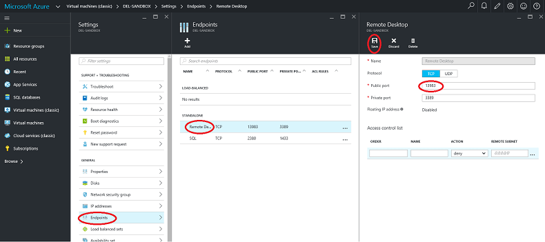 Specifying the EndPoints in Azure