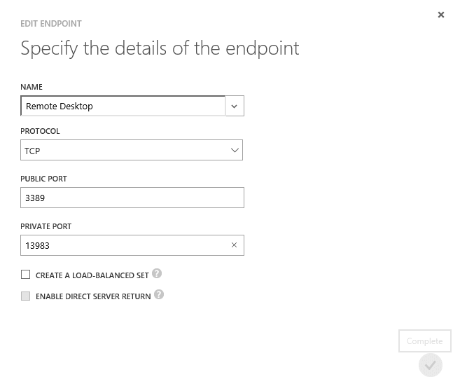 Specify the details of the endpoint in Azure