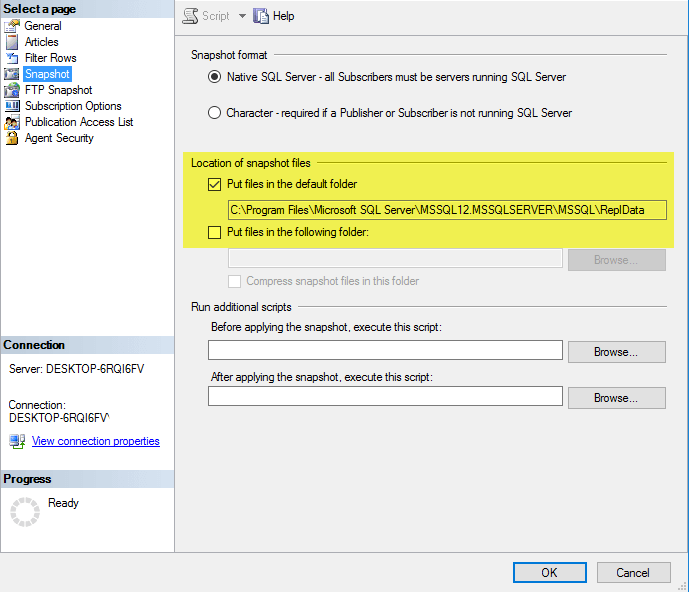 SQL Server Snapshot Replication Default Folder