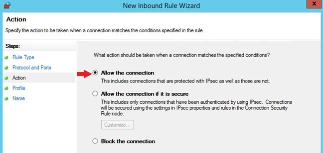 Allow the connection for the New Inbound Rule Wizard