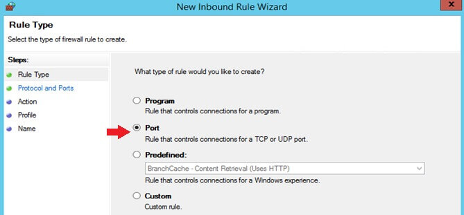 Port for the new Inbound Rule Wizard