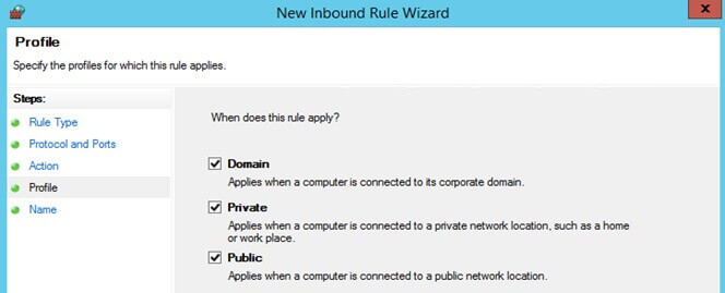 Profile for the New Inbound Rule Wizard