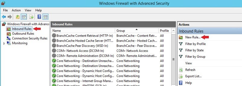 Windows Firewall Inbound Rules