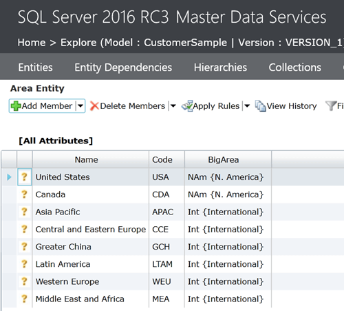 SQL Server 2016 Master Data Services Area Entity