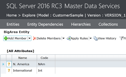 SQL Server 2016 Master Data Services Big Area