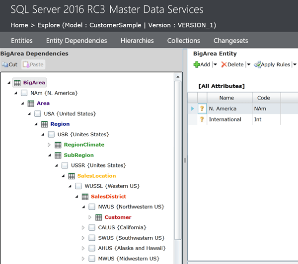 SQL Server 2016 Master Data Services Entity Explorer to see dependencies and data