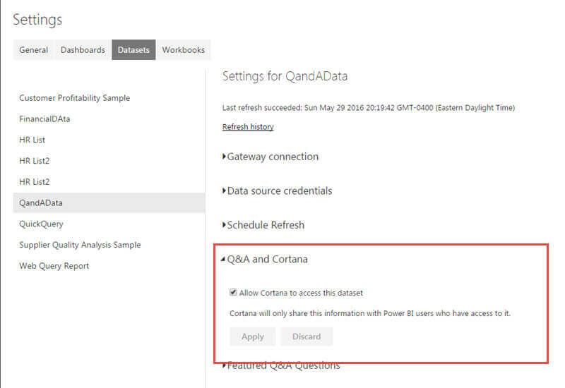 SQL Server Power BI Cortana Search