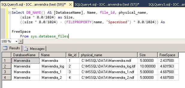 SQL Server Database File space post data insert
