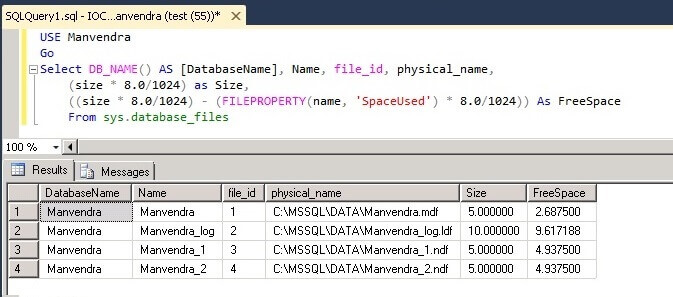 data file free spaces post SQL Server database creation