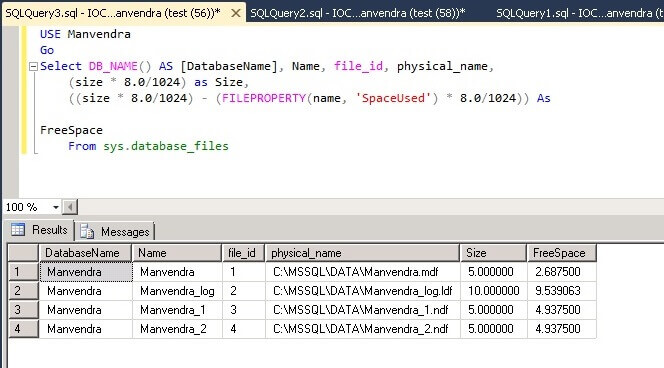 SQL Server databas file space post table creation