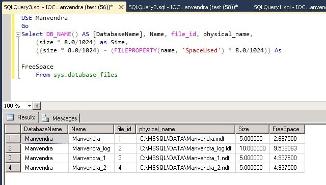SQL Server data file space post table creation