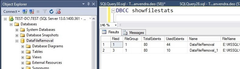 Check SQL Server data files post removal with DBCC SHOWFILESTATS