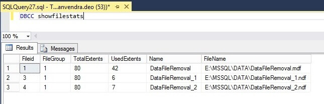 Number of extents allocated to each SQL Server data file