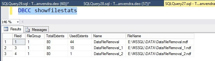 Check the number of allocated pages post data migraton for the SQL Server database with DBCC SHOWFILESTATS