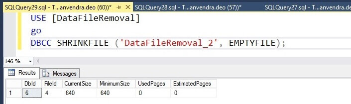SQL Server DBCC SHRINKFILE with the EMPTYFILE option