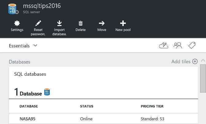Check SQL Azure Database Size and Pricing Tier