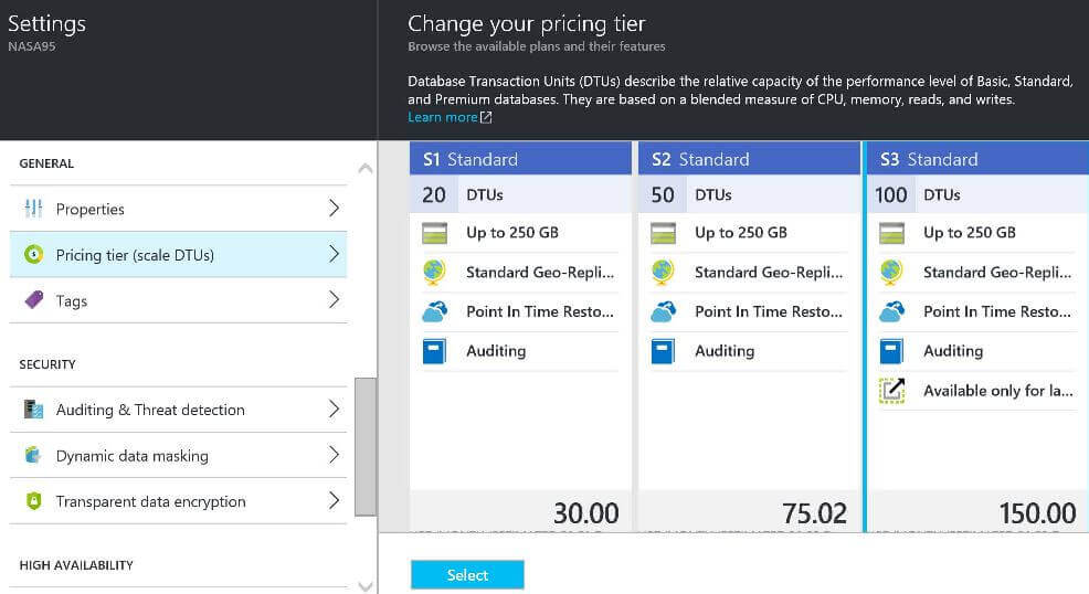 Upgrade to SQL Azure S3 Standard Size for improved performance