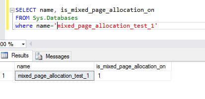 Configure a database with MIXED_PAGE_ALLOCATION ON