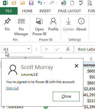 Sign In or Out in Excel to Power BI