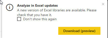 Analyze in Excel Updates - Don't show this again
