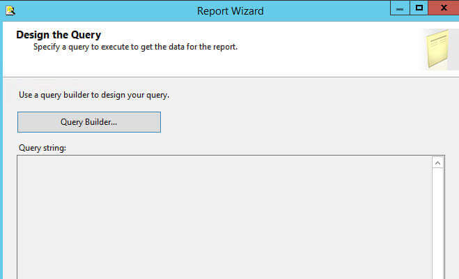 Create a sql server reporting services report from an for Query design window