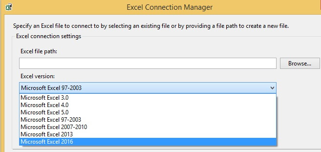 Excel Connection Manager in Integration Services 2016