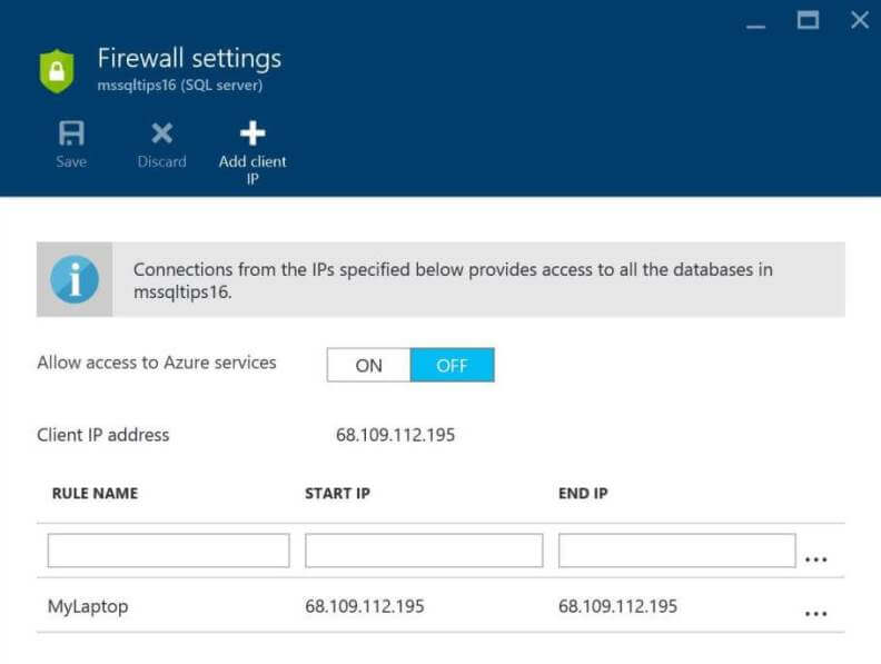 Azure Firewall Rule