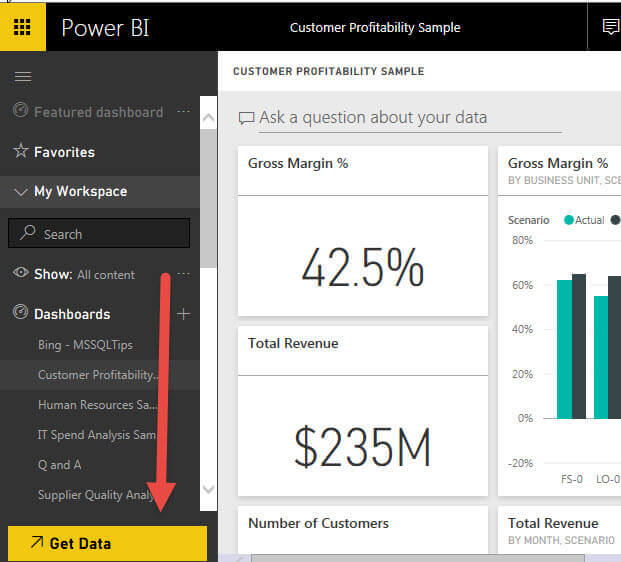 Get Data button in Power BI