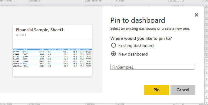 Pin to New Dashboard in Power BI