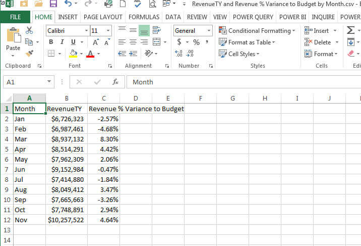 Exported CSV data viewed in Excel