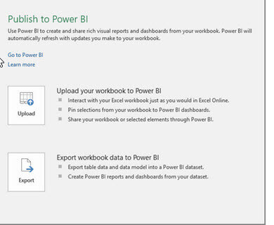 Publish to Power BI Options