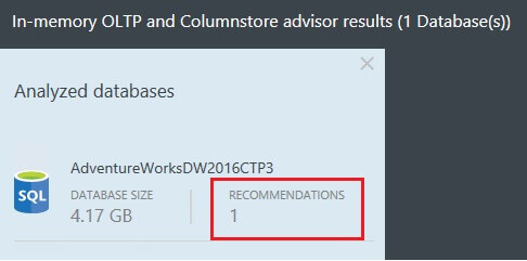 In-Memory OLTP and Column Store Advisor Results With a Missing ColumnStore Index
