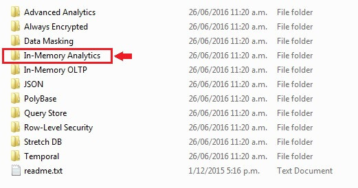 In Memory Analytics Folder for SQL Server ColumnStore scripts