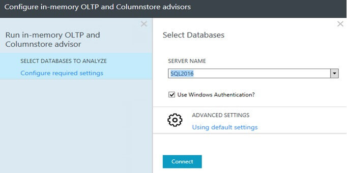 Run the SQL Server 2016 Column Store Advisor