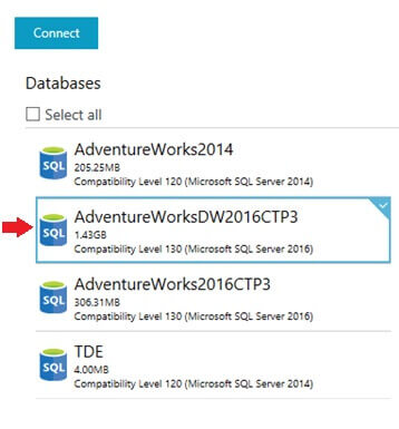 Select the SQL Server Database to Connect to