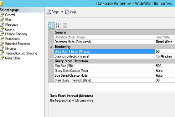 WideWorldImporters Query Store Properties
