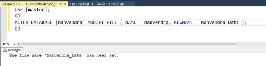 Change logical file names of a SQL Server database file
