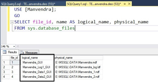 Verify the logical file name change of all database files with T-SQL
