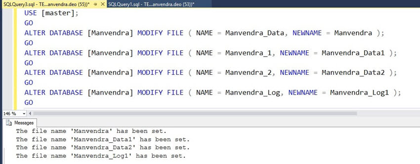 Logical file name change of all SQL Server database files