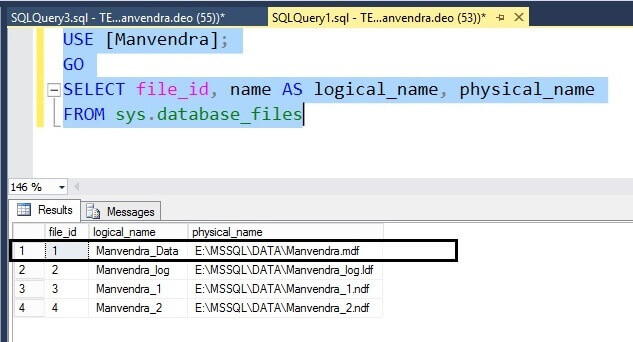 Validate the logical SQL Server database file name changes