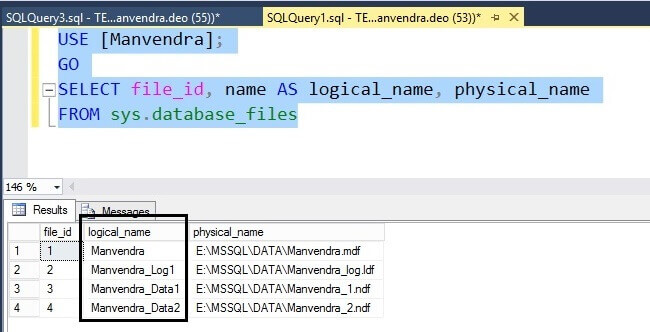Verify the logical file name change of all SQL Server database files