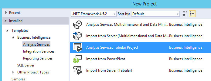 Start a new SQL Server Analysis Services Tabular Project