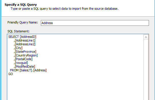 Specify a SQL Query with a Friendly Query Name