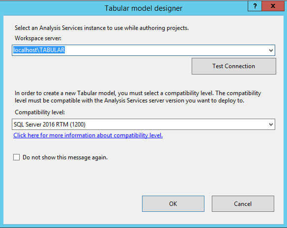 In the Tabular Model Designer specify the server workspace server and compatibility level