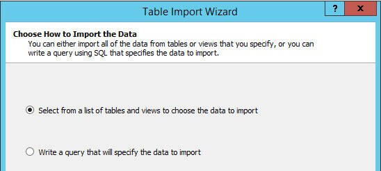 Table Import Wizard interface to Choose How to Import the Data