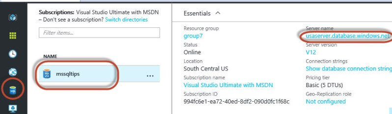 Copy the server name for the Microsoft Azure instance
